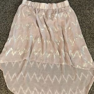 Light Pink High Low Skirt with Zig Zag Design
